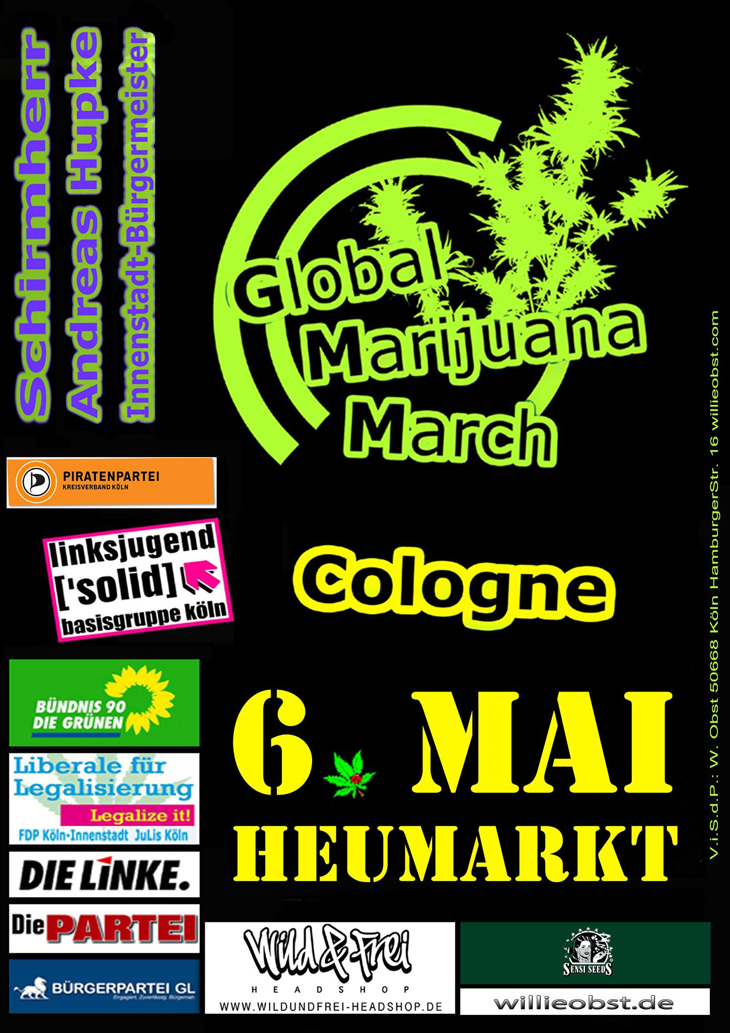 Global Marijuana March am Samstag in Köln